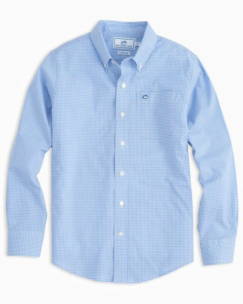 Southern Tide - Boys' Gingham Sport Shirt - Sail Blue