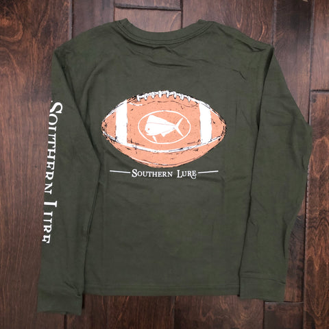 Southern Lure - Toddler & Youth LS Logo Football Tee - Oak Green