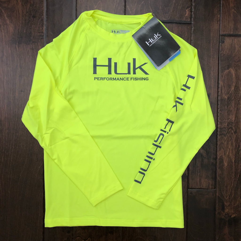 HUK Performance Fishing - Youth Performance Raglan LS Performance Tee - Neon Yellow