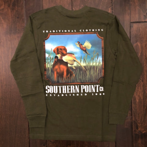 Southern Point - Youth Field Catch LS Tee - Hunter Green