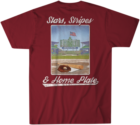 Youthful Cotton - Toddler, Youth, & Adult Stars, Stripes & Home Plate SS Tee - Maroon