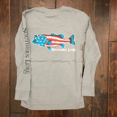 Southern Lure - Toddler & Youth LS Flag Bass Tee - Granite