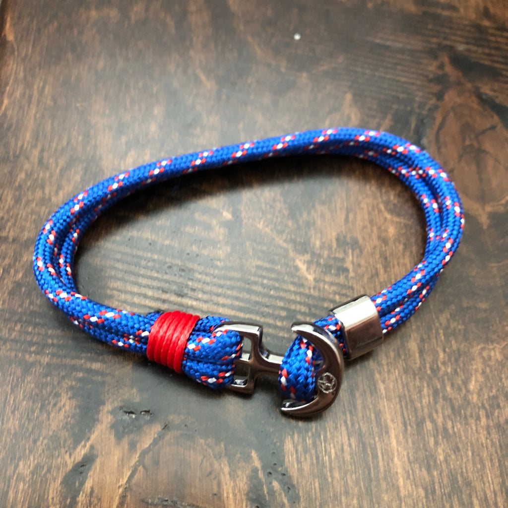 Youthful Cotton - Anchor Bracelet - Multi Color: Red/White/Blue