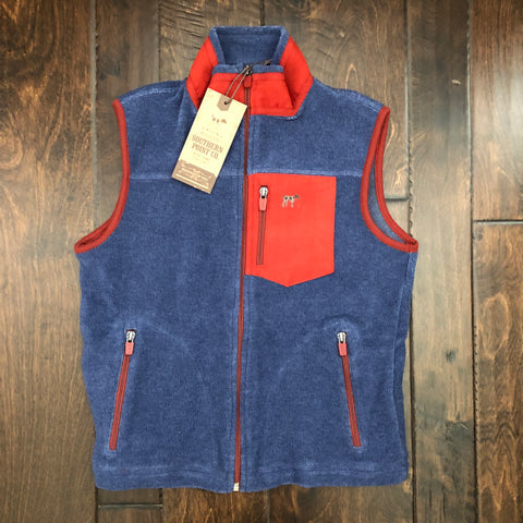 Southern Point - Youth Bennington Vest - Navy/Red