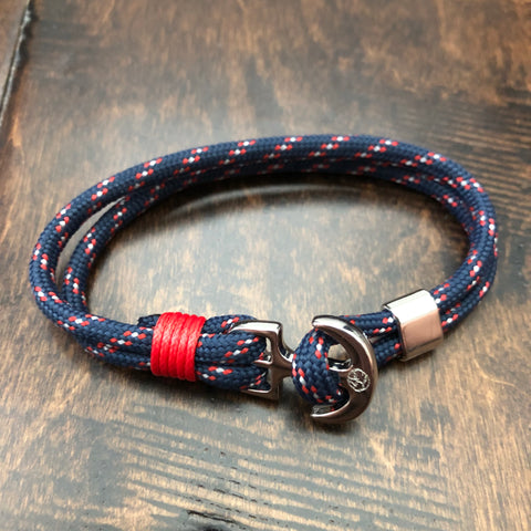 Youthful Cotton - Anchor Bracelet - Multi Color: Black/Red