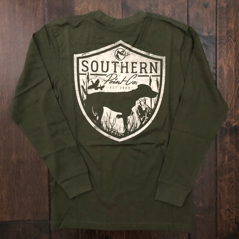 Southern Point - Youth Hunting Badge LS Tee - Hunter Green