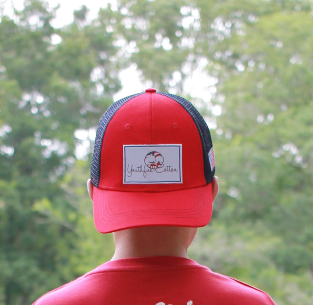 Youthful Cotton - American Flag Trucker Hat - Youth & Adult