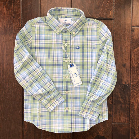 Southern Tide - Boys' Surfscoter Plaid Sport Shirt - Sage Green