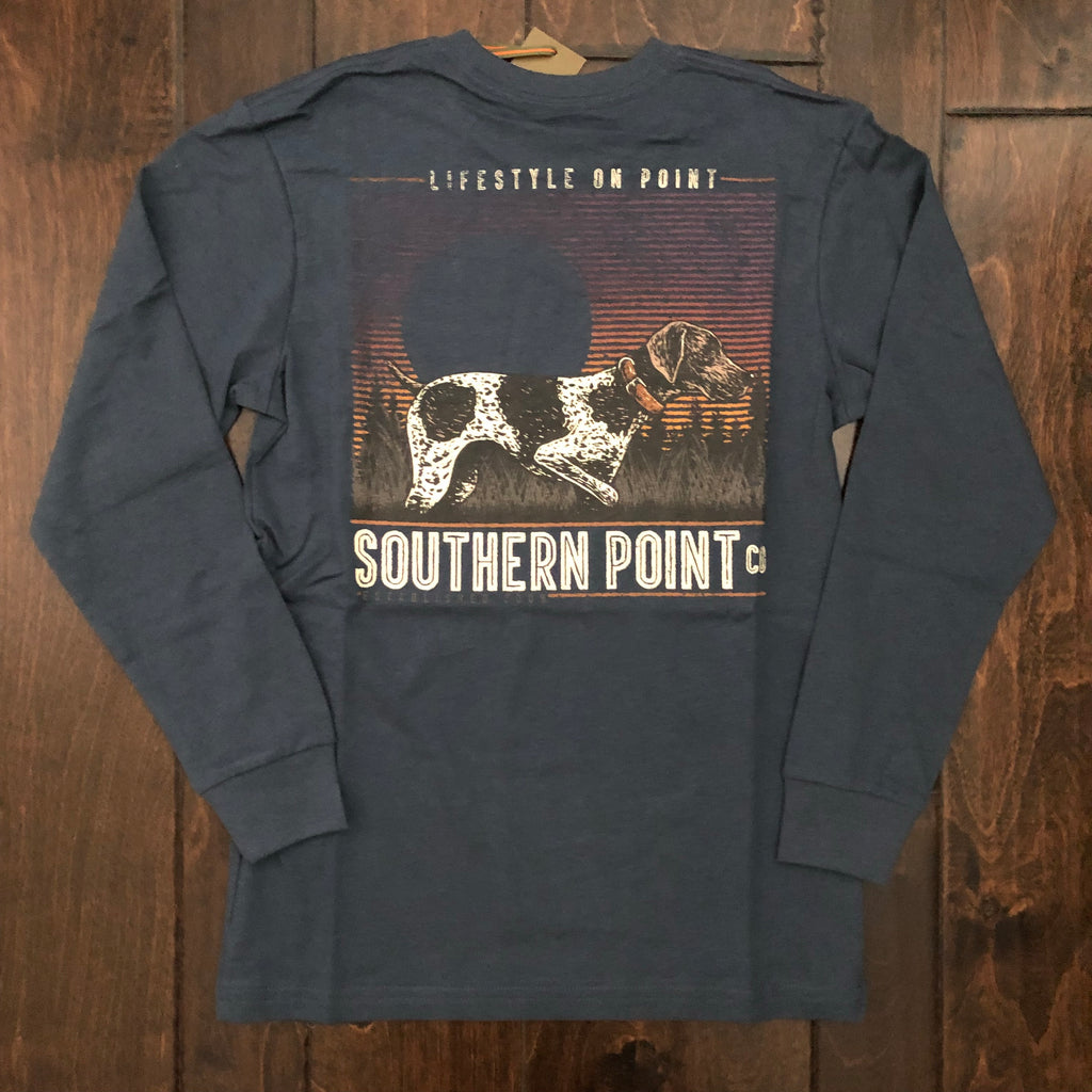 Southern Point - Youth Retro Pointer LS Tee - Vintage Navy