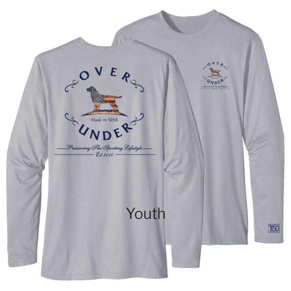 Over Under Clothing - L/S Youth Tidal Tech Antique Flag Logo - Gray