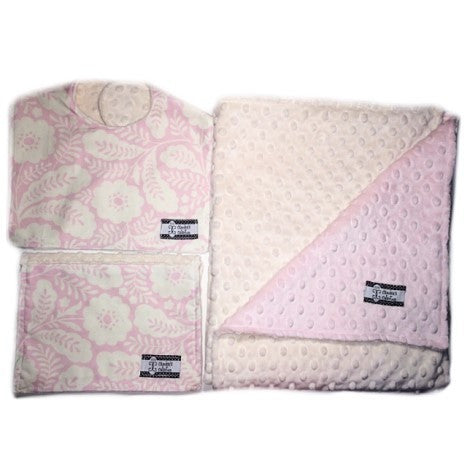 Camden's Collection - 3 Piece Gift Set- Pink Floral Bib, Burp and Stroller Blanket