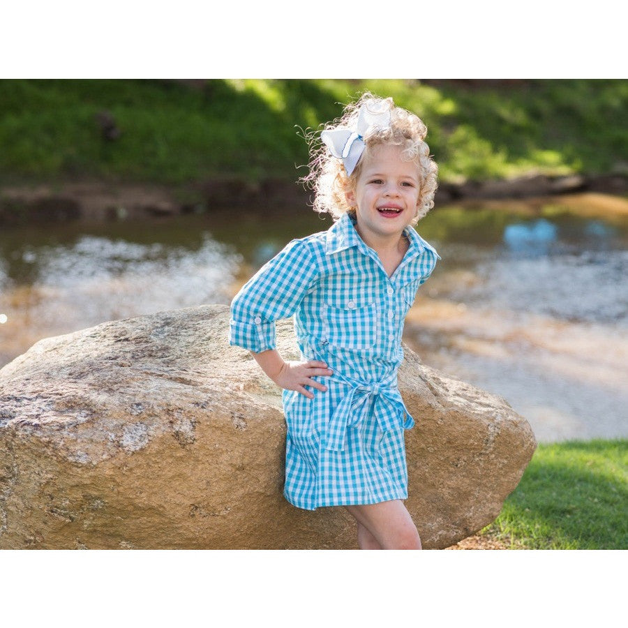 Prodoh - Belted Gingham Dress - Aqua