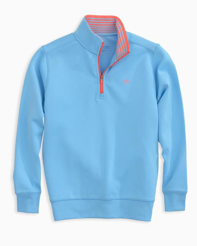Southern Tide - Youth LS Breakwater Performance 1/4 Pullover - Ocean Channel