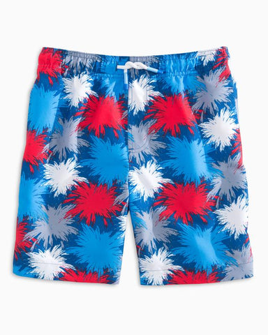 Southern Tide - Boys' Fireworks Swim Trunks - Seven Seas Blue