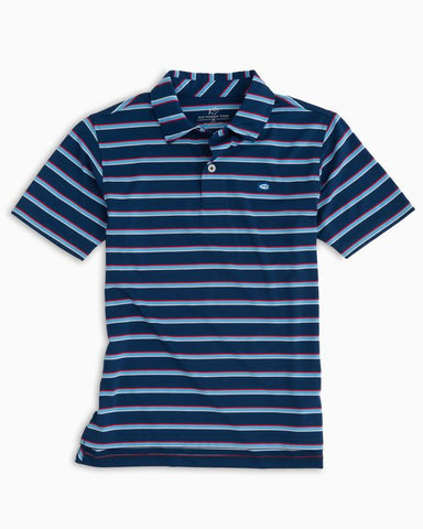 Southern Tide - Boys' Freedom Multi Stripe Performance Polo - Yacht Blue