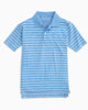 Southern Tide - Boys' Gator Stripe Performance Polo - Ocean Channel