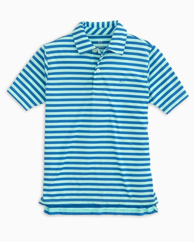 Southern Tide - Boys' Hangout Stripe Performance Polo - Offshore Green
