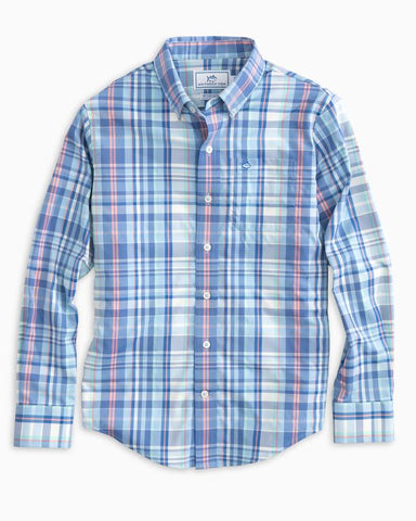 Southern Tide - Boys' Siesta Plaid Intercoastal Sportshirt - Sky Blue