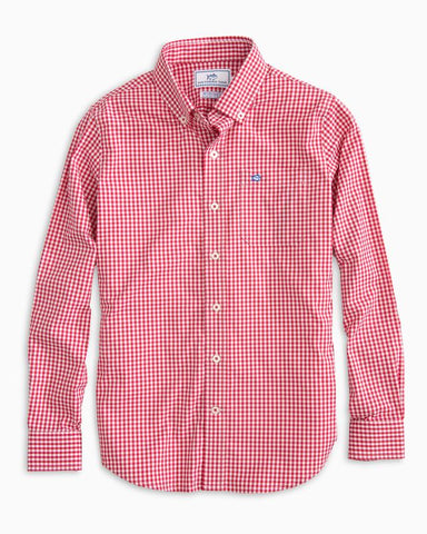 Southern Tide - Boys' Wintertime Gingham Sport Shirt - Reggae Red