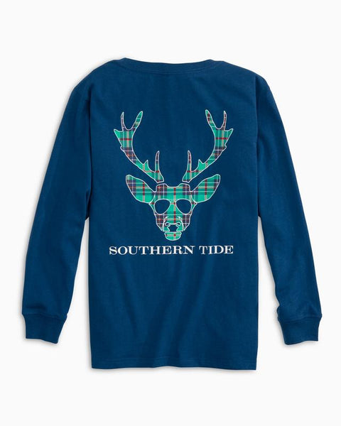 Southern Tide - Youth LS Reindeer Plaid Tee - Blue Lake