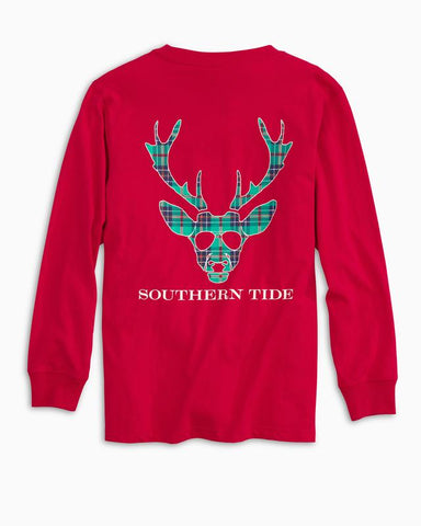 Southern Tide - Youth LS Reindeer Plaid Tee - Reggae Red