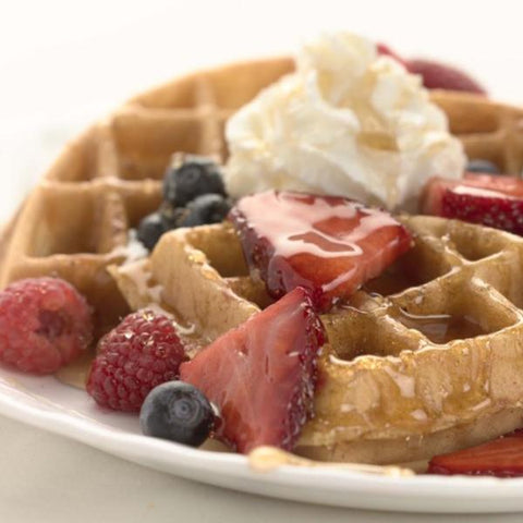 Belgian Waffles (10 servings+, includes berries & whipped cream)