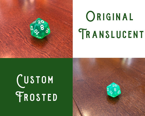 Making Custom Dice - Frosting Translucent Dice