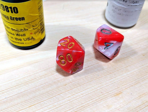 Reinking dice with Paint
