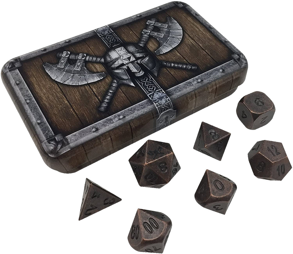 Dwarven Chest with Industrial Brass Color with Black Numbers Metal Dice