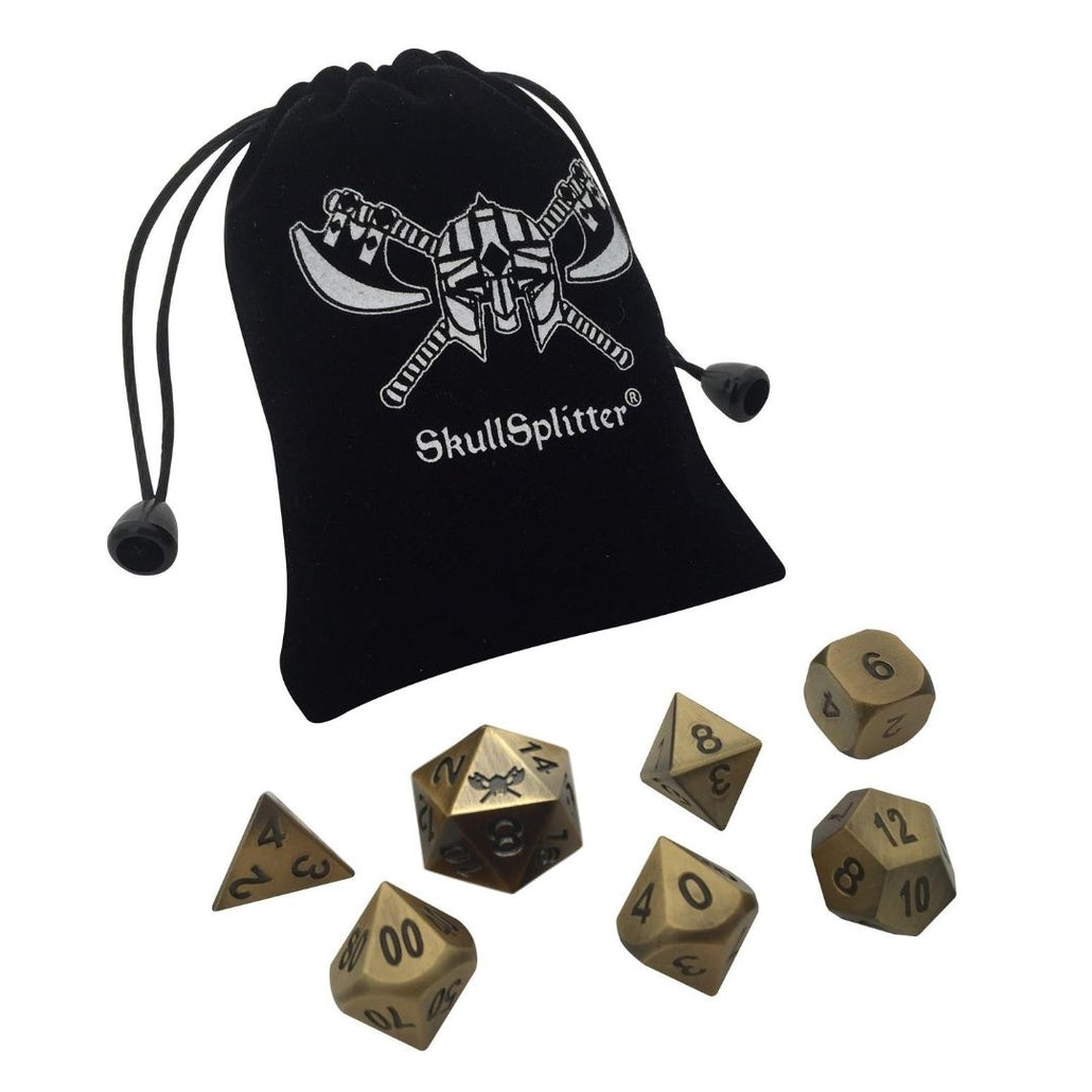 Antique Gold Color with Black Numbering Metal Dice (7 Die in Pack)