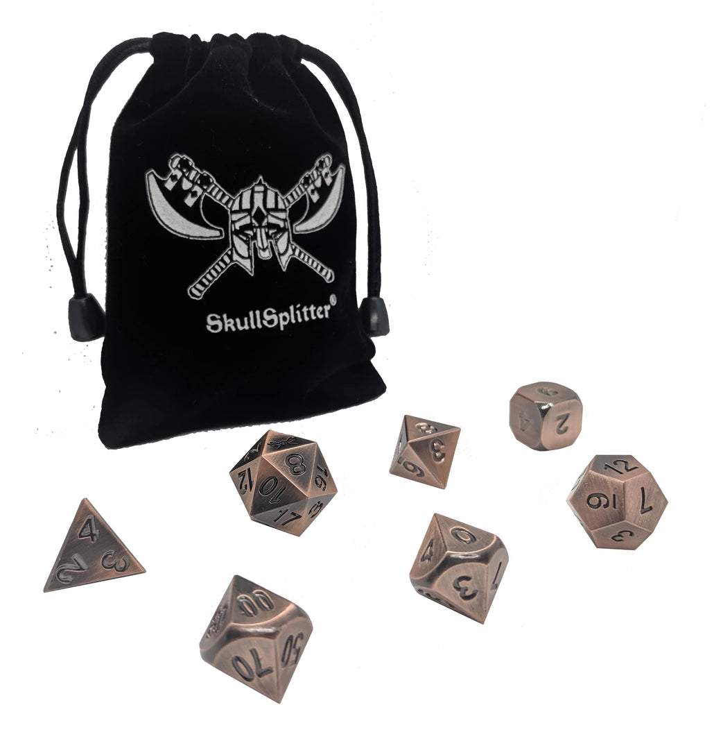 Antique Brass Color with Black Numbering Metal Dice (7 Die in Pack)
