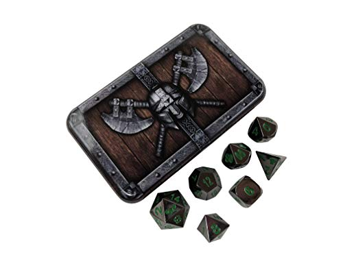 Dwarven Chest with Black Dragon | Shiny Black Nickel with Green Numbering Metal Dice