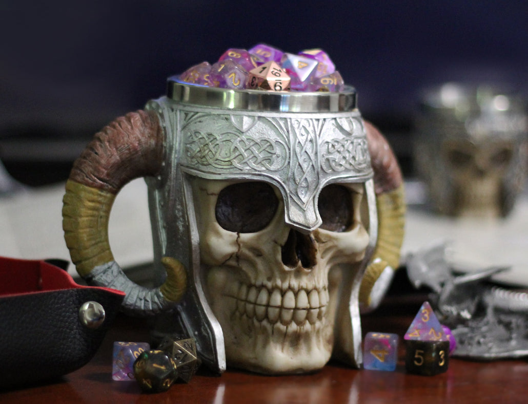 Skull Mug with Horns with Cup O' Dice for RPGs