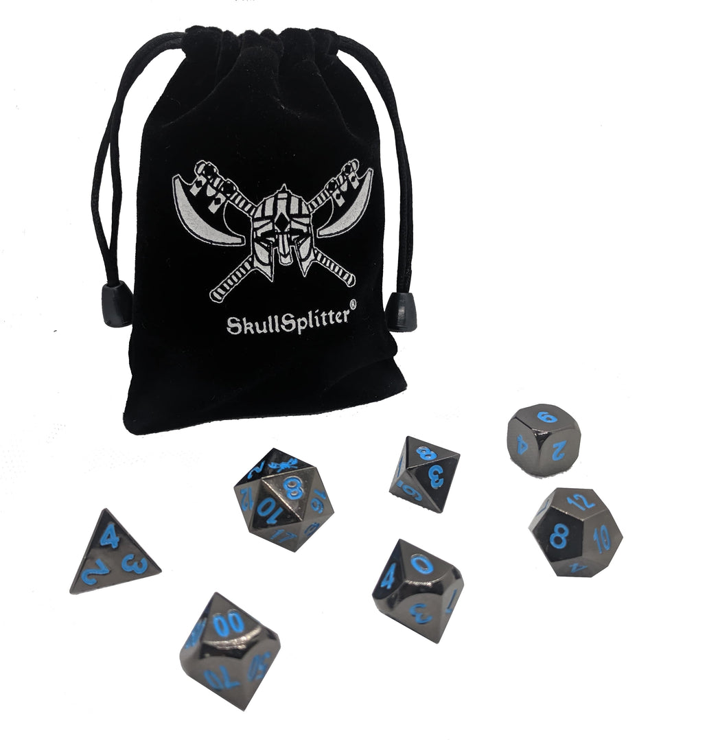 Icy Doom | Shiny Black Nickel Finish with Blue Numbering Metal Dice Set (7 Die in Pack)
