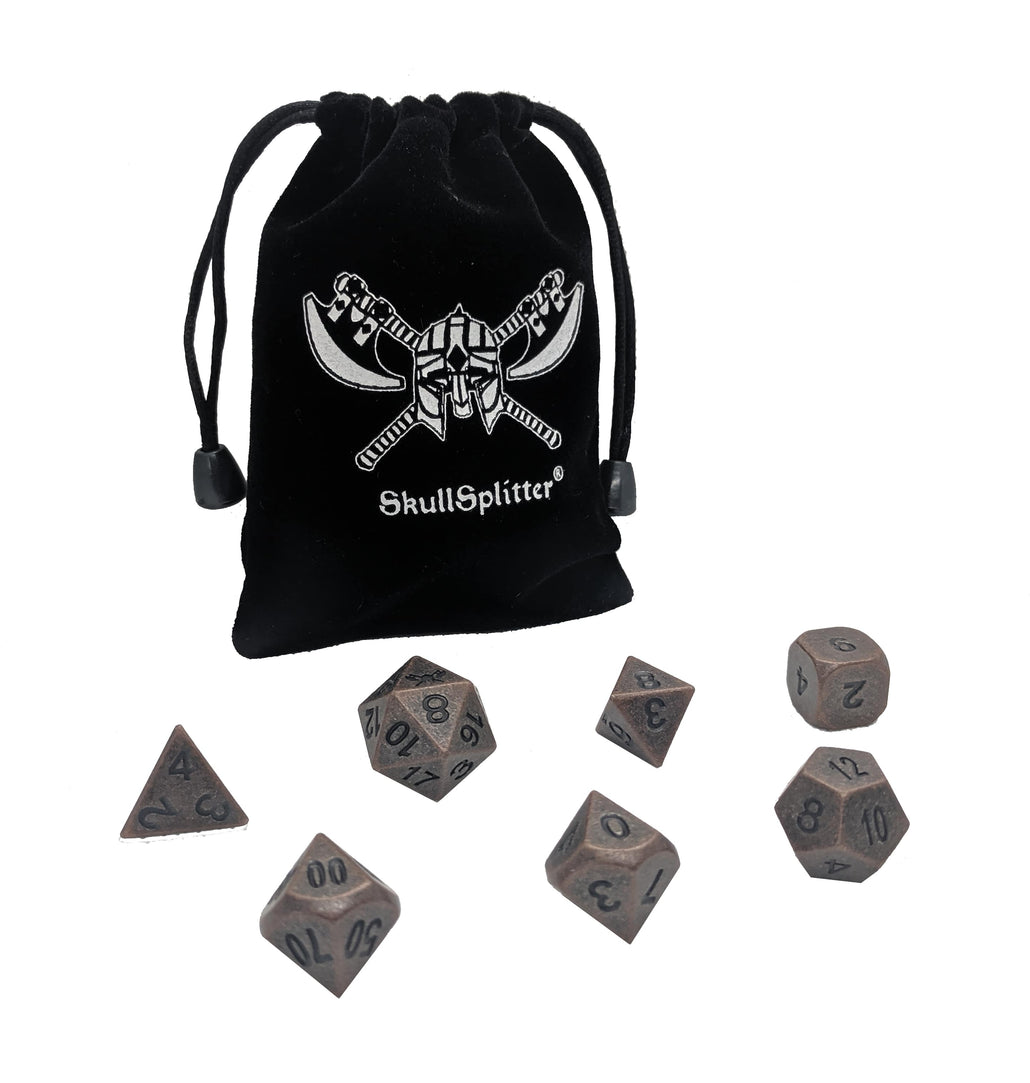 Industrial Brass with Black Numbering Metal Polyhedral Dice Set (7 Die in Pack)