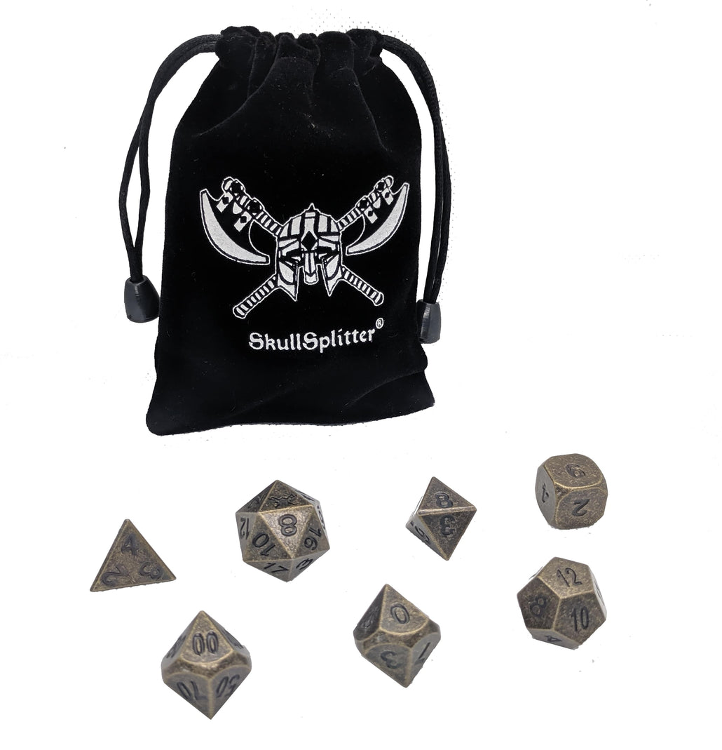 Industrial Gold Color with Black Numbers Polyhedral Dice Set (7 Die in Pack)
