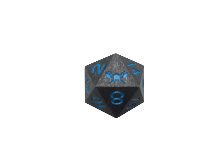 Metal d20 polyhedral dice for Dungeons and Dragons