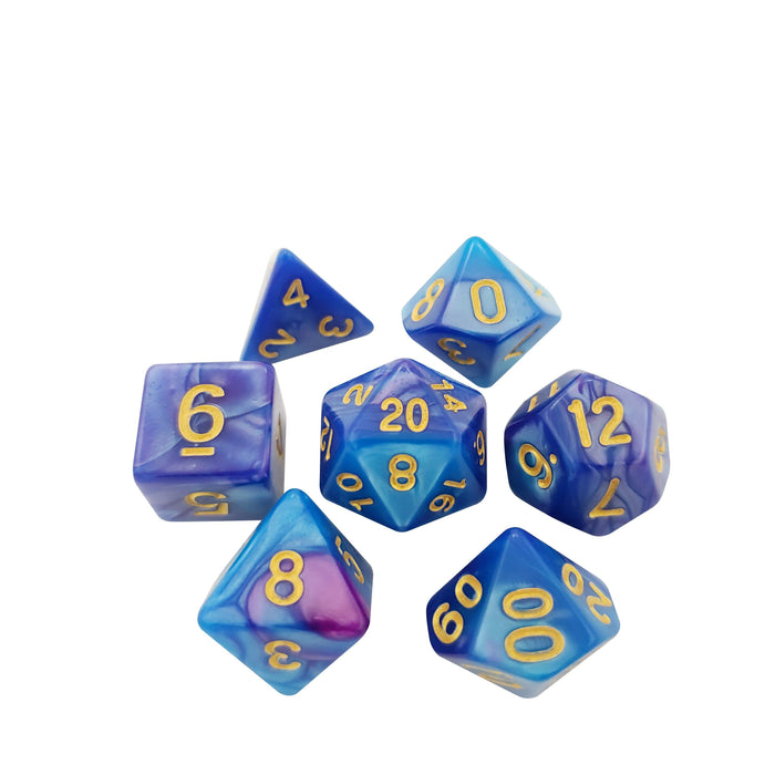Ancient Treasure - Royal Blue And Purple With Gold Numbering Polyhedral Dice For DND