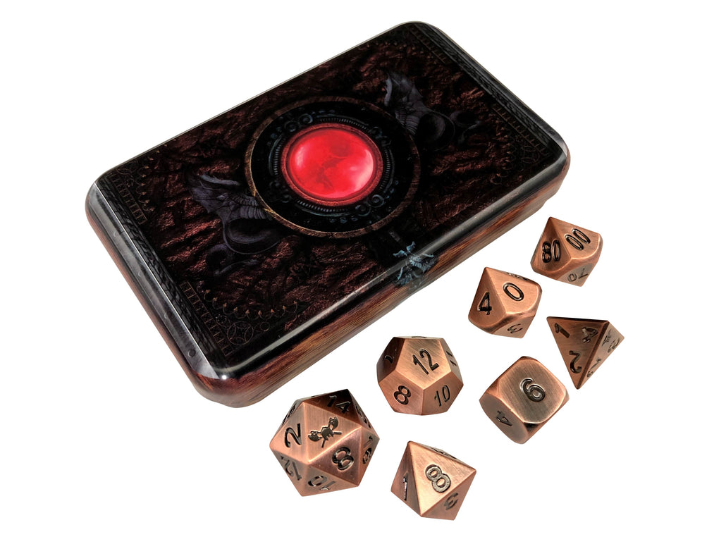 Warlock Tome with Antique Brass Color with Black Numbers Metal Dice