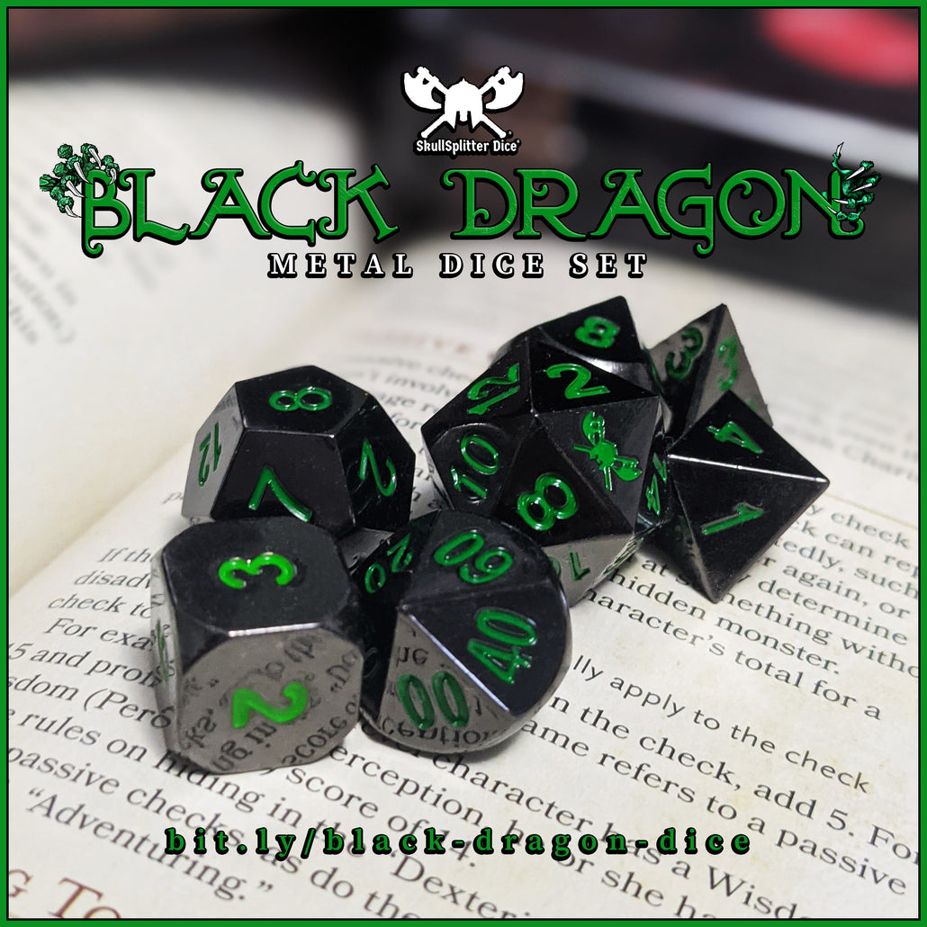 Black Dragon | Shiny Black Nickel with Green Numbering Metal Dice (7 Die in Pack)