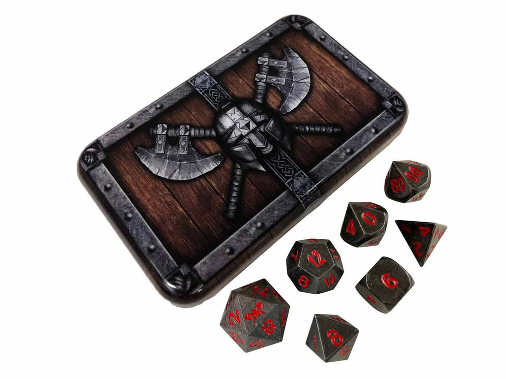 Dwarven Chest with Butcher's Bill | Industrial Gray with Red Numbering Metal Dice