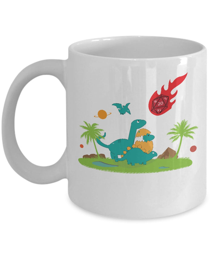 Coffee Mug - Critical Hit Funny Dinosaur RPG Mug
