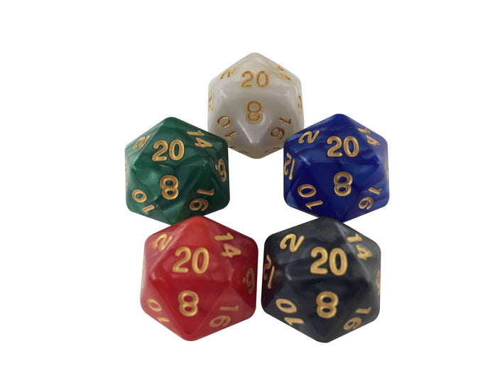 D20 - D20 Life Counters For - Magic The Gathering - Five D20s For Red, White, Black, Blue And Green