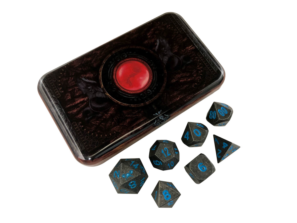 Warlock Tome with Ice King's Revenge | Industrial Gray with Blue Numbers Metal Dice