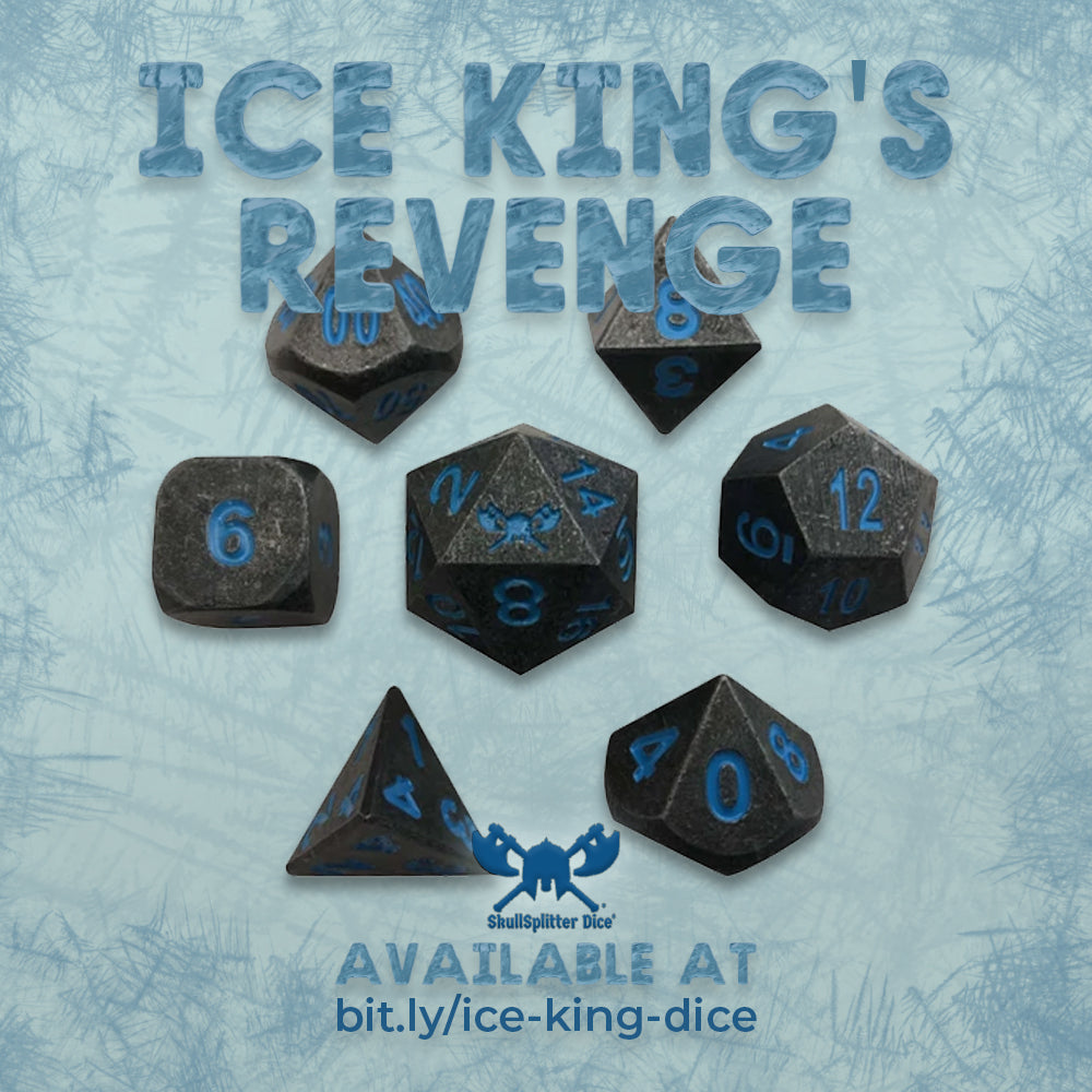 Ice King's Revenge | Industrial Gray with Blue Numbers Metal Dice (7 Die in Pack)