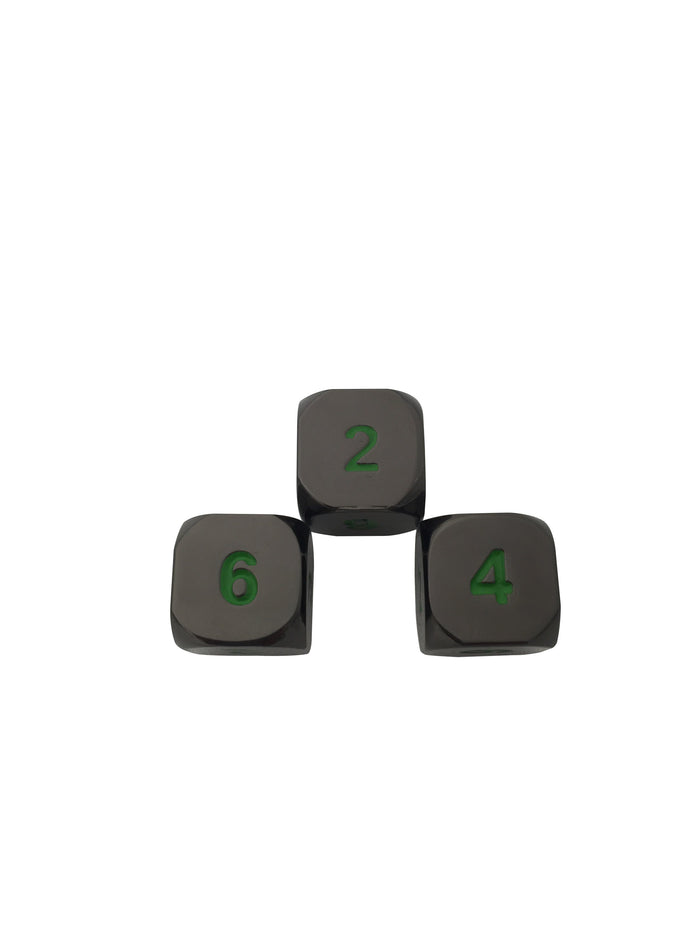 Metal Dice - 3 Pack Of D6 - Black Dragon | Shiny Black Nickel With Green Numbering Metal Dice