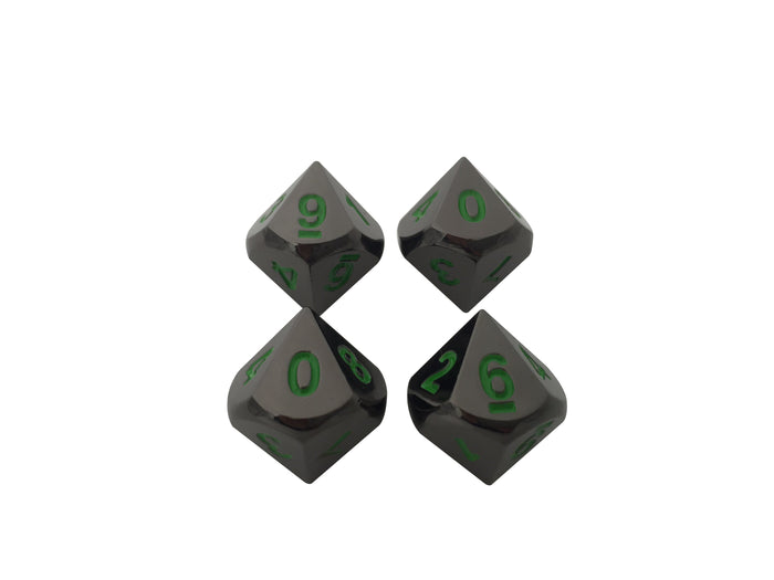 Metal Dice - 4 Pack Of D10 - Black Dragon  | Shiny Black Nickel With Green Numbering Metal Dice