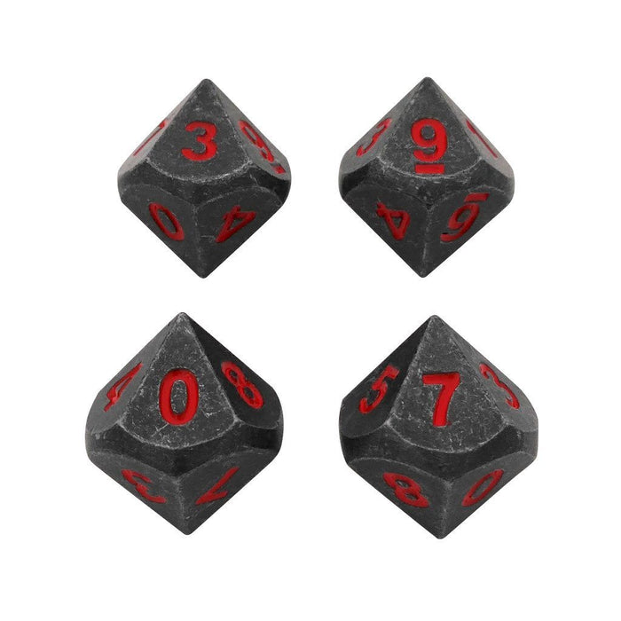 Metal Dice - 4 Pack Of D10 - Butcher's Bill | Industrial Gray With Red Numbers Metal Dice
