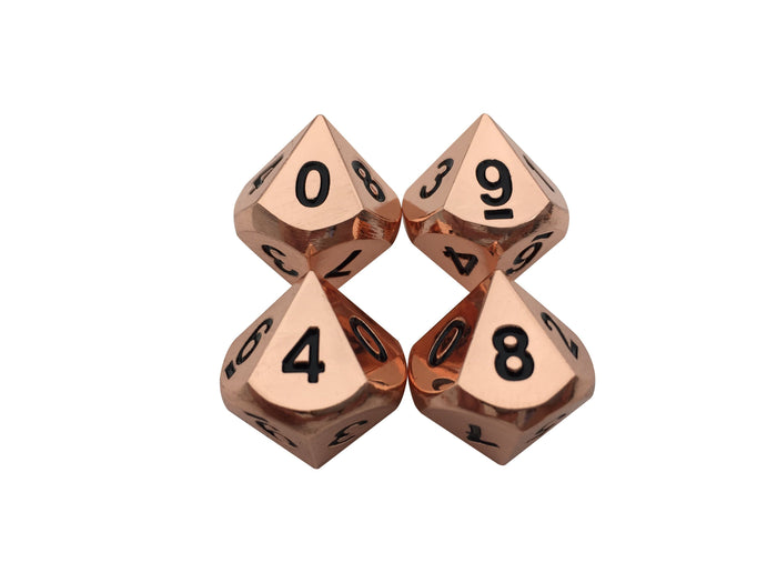 Metal Dice - 4 Pack Of D10 - Copper Color With Black Numbering Metal Dice Set