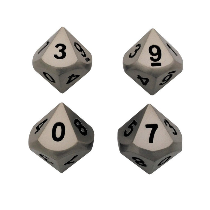 Metal Dice - 4 Pack Of D10 -  Executioner's Step (Dull Silver Color With Black Numbers) Metal Dice